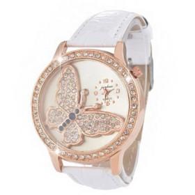 Honel 腕時計 ファッション レディース チョウ文字盤 綺麗 シンプル ホワイトバンド ホワイト文字盤 電池交換可能 [並行輸入品]