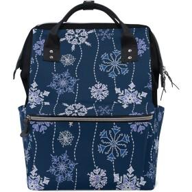 ママバッグ マザーズバッグ リュックサック ハンドバッグ 旅行用 手描きの雪柄 ベイビー ファション