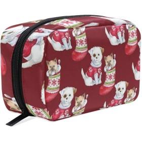 クリスマスソックス犬の猫のギフト 化粧ポーチ メイクポーチ コスメポーチ 化粧品収納 小物入れ 軽い 軽量 旅行も便利 [並行輸入品]