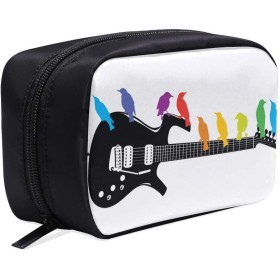 GGSXD メイクポーチ 鳥やギター ボックス コスメ収納 化粧品収納ケース 大容量 収納 化粧品入れ 化粧バッグ 旅行用 メイクブラシバッグ 化粧箱 持ち運び便利 プロ用
