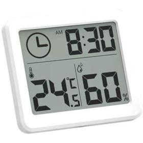 Littleliving 温湿度計 デジタル湿度計 温度計室内 LCD大画面 時計 壁掛け&卓上スタンド兼用 見やすい 肌の潤い インフル対策用 健康管理 熱中症予防 貼り付き