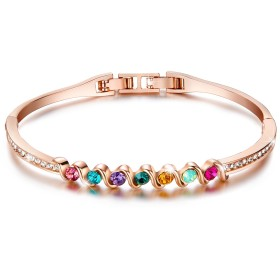 Valentines Gift - Menton EzilRainbow Colourful Crystal Bangle Made with Elements Crystals Women Bracelet 18K White Gold Plated Jewellery Colour Options