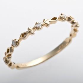 宝石の森 ダイヤモンド ピンキーリング K10 イエローゴールド ダイヤ0.03ct アンティーク調 ティアラ 指輪 1.5号