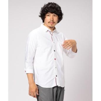 【40%OFF】 ビームス メン BEAMS / トリコロール パラシュートボタン 7分袖 シャツ メンズ WHITE XL 【BEAMS MEN】 【セール開催中】