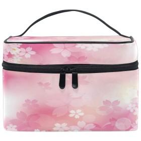 Anmumi 化粧ポーチ メイク ポーチ ボックス 収納ケース 仕切り 花柄 桜 ピンク 手提げ 大容量 かわいい おしゃれ レディース 女の子 機能的 小物入れ 旅行 出張 プレゼント