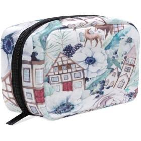 鹿 白地 化粧ポーチ メイクポーチ 機能的 大容量 化粧品収納 小物入れ 普段使い 出張 旅行 メイク ブラシ バッグ 化粧バッグ