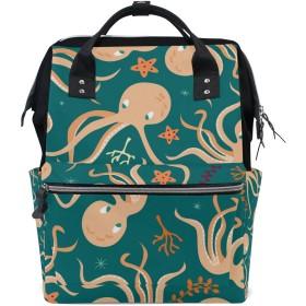 ママバッグ マザーズバッグ リュックサック ハンドバッグ 旅行用 可愛いタコ柄 ファション