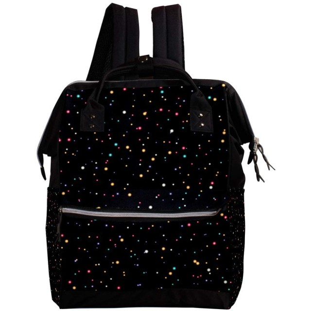 CHENYINAN リュックサック リュック 学生 レディース 水玉柄 ブラック 黒 メンズ 大容量 マザーズバッグ がま口 バックパック 通勤通学 デイバッグ かわいい おしゃれ