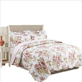 米式田園風 花柄模様 ベッドカバー ベッドスプレッド 枕カバー 3点セット 綿100% 保温 冷房対策 230250cm