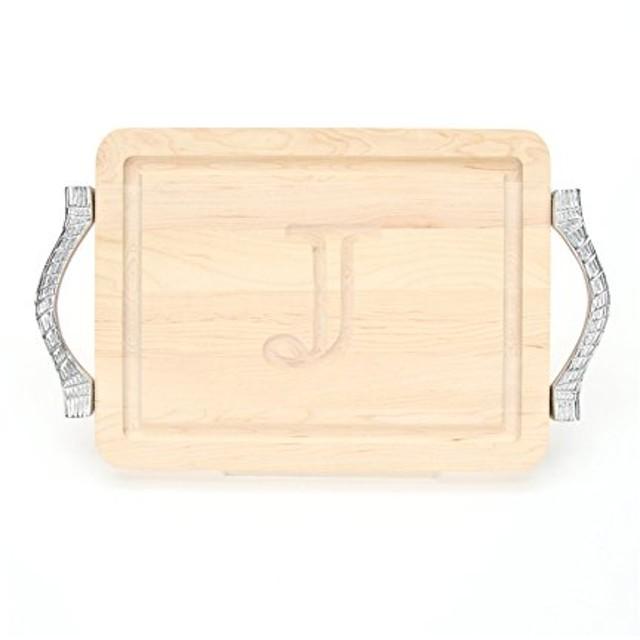 Bigwoodボード厚バー/チーズボードでロープハンドルを鋳造アルミニウム、9-inch by 12-inch by 3/ 4インチ、モノグラム、メープル S ブラウン