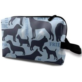 犬柄 英語 青い ブルー 化粧バッグ 収納袋 女大容量 化粧品クラッチバッグ 収納 軽量 ウィンドジップ