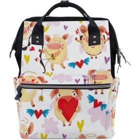 ママバッグ マザーズバッグ リュックサック ハンドバッグ 旅行用 豚 天使 ファション