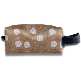 フクロウとマジック・ワンズ 化粧ポーチ メイクポーチ ミニ 財布 機能的 大容量 アイシャドー 化粧品収納 小物入れ 普段使い 出張 旅行 メイク ブラシ バッグ ポータブル 化粧バッグ