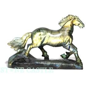 【石流通センター】☆高級一点物☆【彫刻置物】馬 ラブラドライト No.111 天然石 パワーストーン