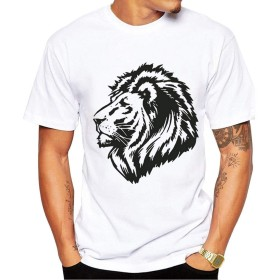 Yizu メンズファッションプリントTシャツタイガーヘッドスウェットプルーフTシャツ用Tシャツ (色 : White, Size : XL)