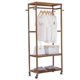 ベッドルームコートラックリビングルーム衣類棚収納ラックヨーロッパハンガー着陸 (色 : Tea color)