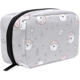 Carrozza 化粧ポーチ メイクボックス ポーチ 仕切り レディース 女の子 学生 おしゃれ 猫 動物 寝る猫 星 化粧バッグ メイクポーチ 化粧ボックス コスメバッグ 小物ケース かわいい