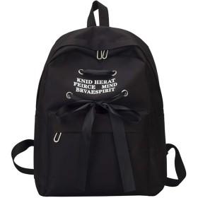 Neconyan ザック 軽量大容量 リュックサック ルックザック バック鞄 通学 学校 おしゃれ人気 プリント リボン付き (Color : ブラック)