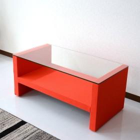 DORIS ガラステーブル 強化ガラス 幅90×奥行45cm 収納 サンレッド ジョリー