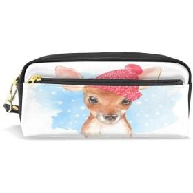 ALAZA 鹿 赤い 帽子 鉛筆 ケース ジッパー Pu 革製 ペン バッグ 化粧品 化粧 バッグ ペン 文房具 ポーチ バッグ 大容量