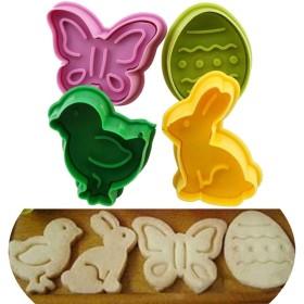 イースターエッグウサギ チック ケーキ フォンダン プランジャー カッター クッキー ビスケット DIY 型 4個 JH93PY45YE9R852I8