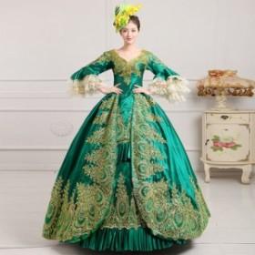 レディース ドレス ロングドレス 結婚式 二次会 パーティ パーティドレス?エレガント 姫 プリンセス 中世 西洋 刺繍 カラードレス 大人