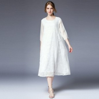 送料無料 大きいサイズ ボタニカル刺繍 七分袖 シフォン Aライン ワンピース フェミニン お呼ばれ