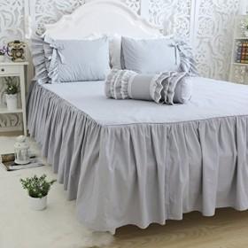 無地 綿100% 洗える ベッドスカート (シングル)