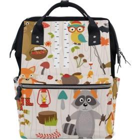 ママバッグ マザーズバッグ リュックサック ハンドバッグ 旅行用 動物 可愛い 熊 狐柄 ファション