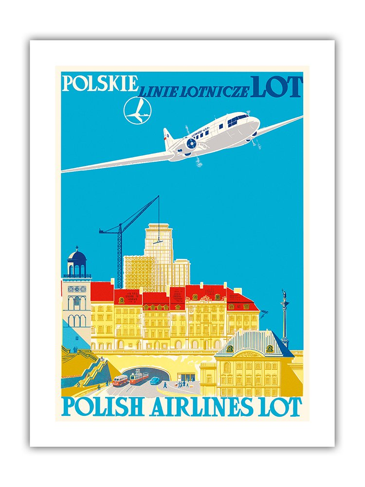Vintage LOT Polish Airlines Flights to Poland Poster A3 Print