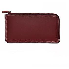 L字型ファスナー レディース 薄いワインレッド 長財布 スマホも簡単に入り、すっきり収納出来ます。