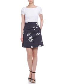 【66%OFF】DESTINO フローラルプリント バックリボン スカート ダークネイビーパターン 38