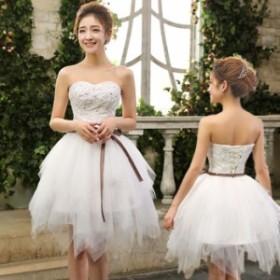 ドレス 結婚式 お呼ばれ ミモレ丈 花嫁 20代 ウエディングドレス ミニドレス カラードレス パーティードレス 二次会 kuqun8283802