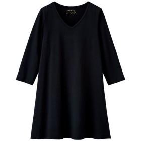 【レディース大きいサイズ】 VネックTシャツ(7分袖)(綿100%)(L-10L) - セシール ■カラー:ブラック ■サイズ:L,LL,3L,4L,5L,6L,7L-8L,9L-10L