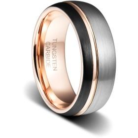 TUSEN JEWELRY 8mm 結婚指輪 ブラック&シルバー タングステン指輪 側面にローズゴールドメッキの細い溝