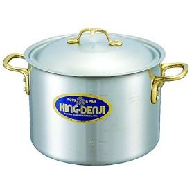 半 寸胴鍋 真鍮 合金 製 取っ手 18cm(3.3L) IH ・ オール熱源 対応 目盛付 日本製 国産