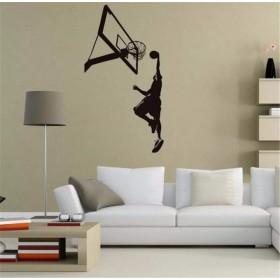 Faaddd バスケットボールダンクスポーツウォールステッカー用男の子の寝室のリビングルーム家の装飾選手のシルエットDiyの壁の装飾ビニール取り外し可能な壁画58センチ×111センチ