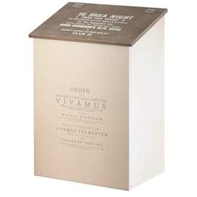 BREA-1576 日本製 木製 ふた付き 10L ダストボックス ゴミ箱 (こげ茶の屋根)