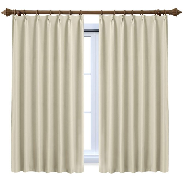 SeeSaw Home 遮光カーテン 1級 2枚組 ベージュ 形状安定 UVカット アジャスターフック付き 幅100cm丈110cm