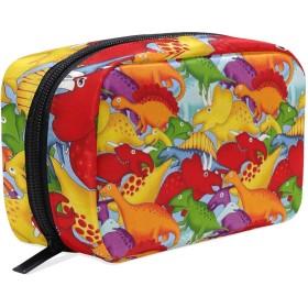 カラフルの恐竜 柄 化粧ポーチ メイクポーチ 機能的 大容量 化粧品収納 小物入れ 普段使い 出張 旅行 メイク ブラシ バッグ 化粧バッグ