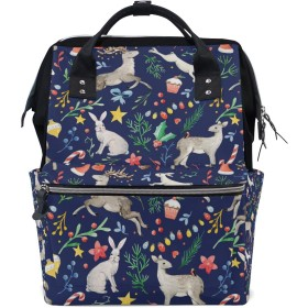 ママバッグ マザーズバッグ リュックサック ハンドバッグ 旅行用 クリスマス 可愛い 鹿とうさぎ柄 ファション
