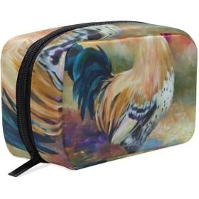 カラフルの鶏 柄 化粧ポーチ メイクポーチ 機能的 大容量 化粧品収納 小物入れ 普段使い 出張 旅行 メイク ブラシ バッグ 化粧バッグ