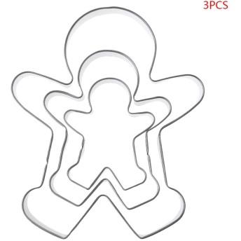 Biuuu 3本のジンジャーブレッド男の子の女の子形状のステンシル、フォンダンペストリーのベーキングクッキーのクッキーセットステンレス鋼