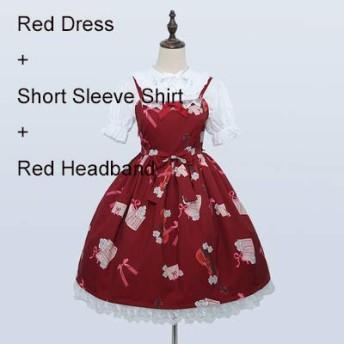 ムーン 音の音楽甘い女性の 3 本セット: ロリータ s ドレス + 白シャツ + ヘアバンドノースリーブドレスかわいい弓トリムワンピース