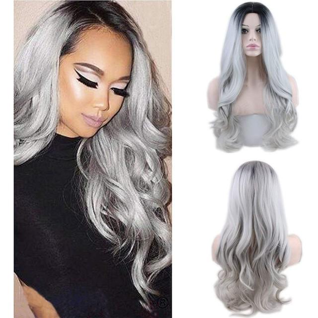 女性の長い巻き毛のウェーブのかかった髪アニメコスプレウィッグブリーチグレーミドル前髪グラデーションヘアピース合成耐熱ナチュラルファンシードレスハロウィン