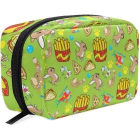 チワワ フライドポテト 柄 化粧ポーチ メイクポーチ 機能的 大容量 化粧品収納 小物入れ 普段使い 出張 旅行 メイク ブラシ バッグ 化粧バッグ