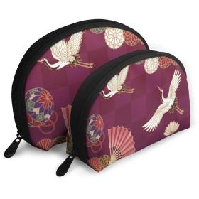 収納ポーチ コスメポーチ 貝殻型 親子ポーチ 小物入れ 品質保証 軽量 大容量 日常 アウトドア 運動 多機能 お土産 鶴と花柄 日本風