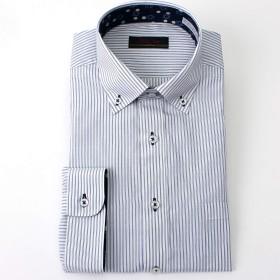 七分袖 ワイシャツ メンズ クールビズ ビジネス ブルーストライプ 幾何学 ショート 形態安定加工 ボタンダウン LL