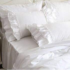 綿100%ホワイト枕カバー 可愛いフリル模様ピロケース クッションカバー5070cm