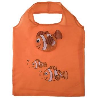 Opromo 10個魚の買い物袋カラフルな折り畳み式食料品袋のハンドルバッグ再利用可能なトートバッグ - オレンジ - 10 Pack